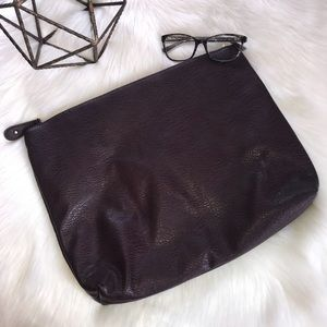 FREE PEOPLE Large Maroon Faux Leather Zip Clutch